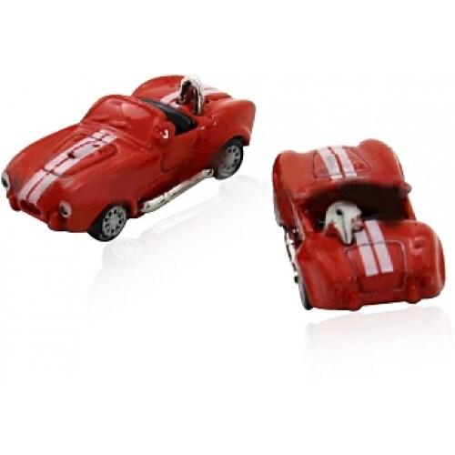 Red Race Car Convertible Shelby Cobra Replica Cufflinks