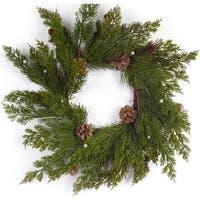 """Pack of 4 Artificial Decorative Indoor Pine with Cones Unlit Wreath 18""""D - green"""
