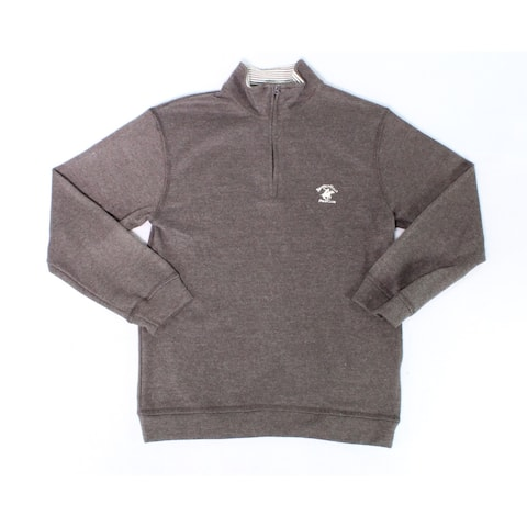 Beverly Hills Polo Club Brown Mens Size Small S 1/2 Zip Sweater