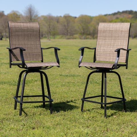"""30"""" All-Weather Patio Swivel Outdoor Stools, Set of 2 - Garden Chair"""