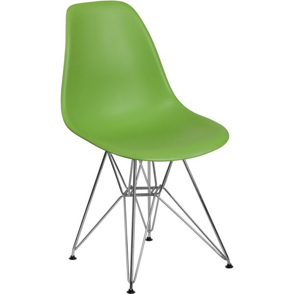 Offex Green Plastic Accent Side Chair with Chrome Base [OFX-456808-FF]