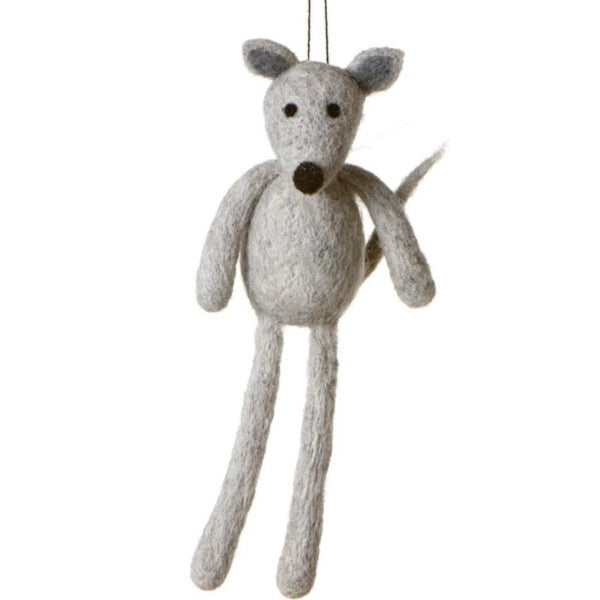 "7"" Fuzzy Wildlife Friends Gray Mouse with Dangling Legs Christmas Ornament"