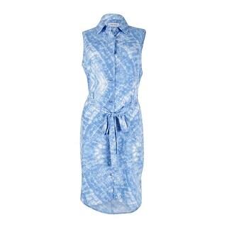 Calvin Klein Women's Sleeveless Belted Shirtdress (Blue, 6) - 6