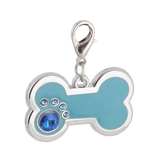 Dog Metal Bone Designed Rhinestone Inlaid ID Tag Pendant Silver Tone Teal Blue