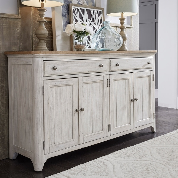 Farmhouse Reimagined Antique White and Chestnut Tops Server. Opens flyout.