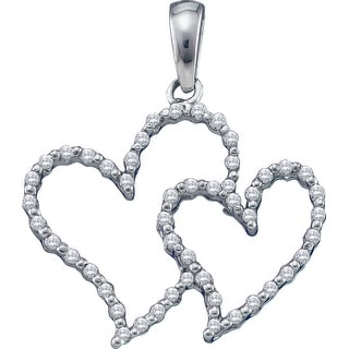 Twin Heart Pendant 10k White Gold With Diamonds 1/6Ct By MidwestJewellery