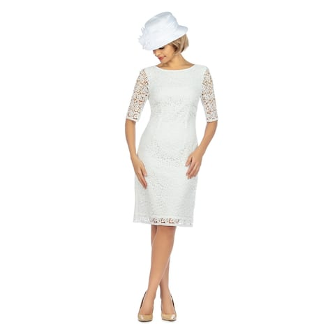 Giovanna Signature Elbow Length Sleeve Lace Shift Dress
