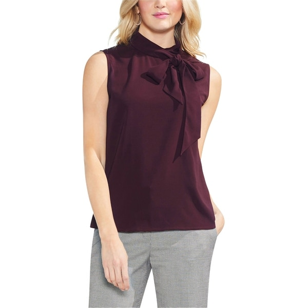 Vince Camuto Womens Bow-Neck Sleeveless Blouse Top, red, X-Small