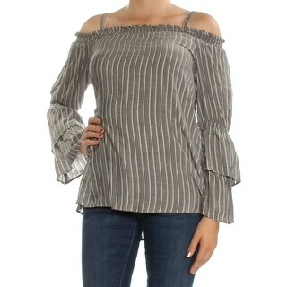 Womens Gray Striped Long Sleeve Square Neck Top Size M