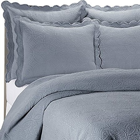 Matelasse Coventry Coverlet Set in Slate Full/Queen