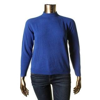Karen Scott Womens Knit Solid Mock Turtleneck Sweater