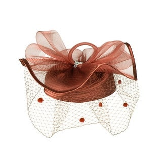ChicHeadwear Satin Braid Pill Box Hat w/ Mesh Bow - Brown
