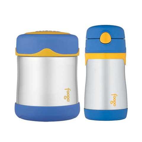 Thermos Foogo Vacuum Insulated Food Jar and Straw Bottle (Blue/Yellow)