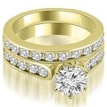 3.44 cttw. 14K Yellow Gold Cathedral Round Cut Diamond Bridal Set - Thumbnail 0