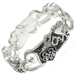"""Antique Silver Plated Love & CZ Brass Bangle - Inside Circumference: 6"""""""