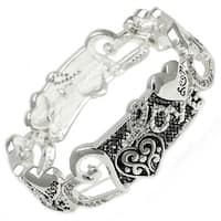 Antique Silver Plated Love & CZ Brass Bangle - Inside Circumference: 6""