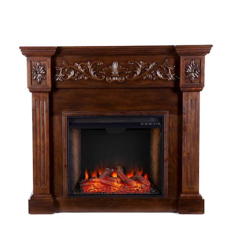 """45.5"""" Brown and Black Contemporary Smart Electric Fireplace"""