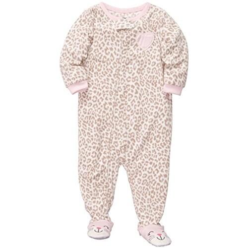 cfdf455a8 Shop Carter s Little Girls  One Piece Footed Fleece Pink Leopard ...