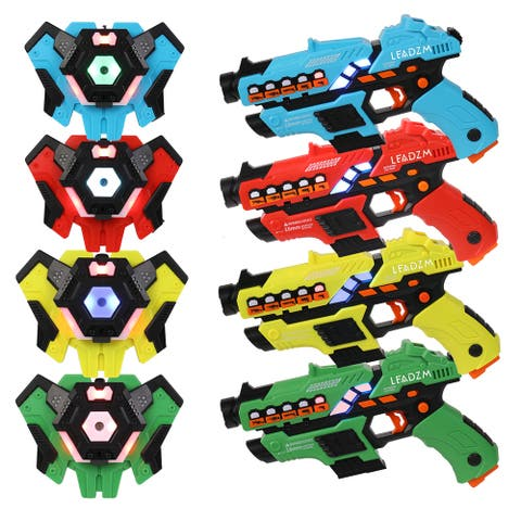 Small Laser Gun 4 Packs (Red/Yellow/Blue/Green) Vest 4 Packs