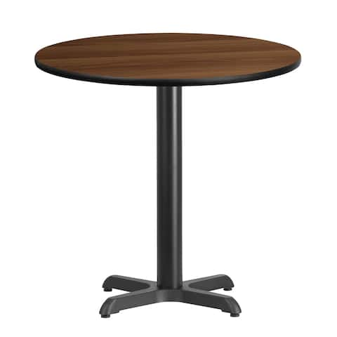 "Dyersburg 30'' Round Walnut Laminate Table Top w/30"" High X-Base"
