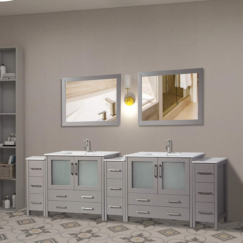 Vanity Art 108 Inch Double Sink Bathroom Vanity Set 13 Drawers 5 Cabinets 2 Shelves Soft Closing Doors With Free Mirror On Sale Overstock 12609902 Grey
