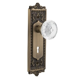 "Nostalgic Warehouse EADCME_PRV_234_KH  Vintage Crystal Meadows Privacy Door Knob Set with Egg & Dart Rose, 2-3/4"" Backset and"
