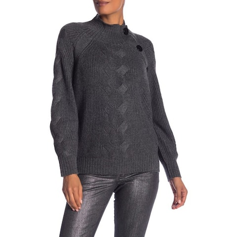 Laundry by Shelli Segal Mock Neck Cable Sleeve Sweater, Heather Grey, X-Large