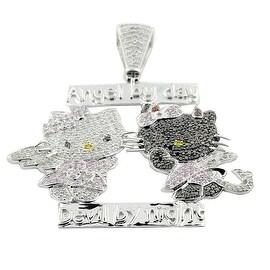 10K White Gold Hellow Kitty Custom Charm 1cttw Black and White Diamonds (i2/i3, I/j)