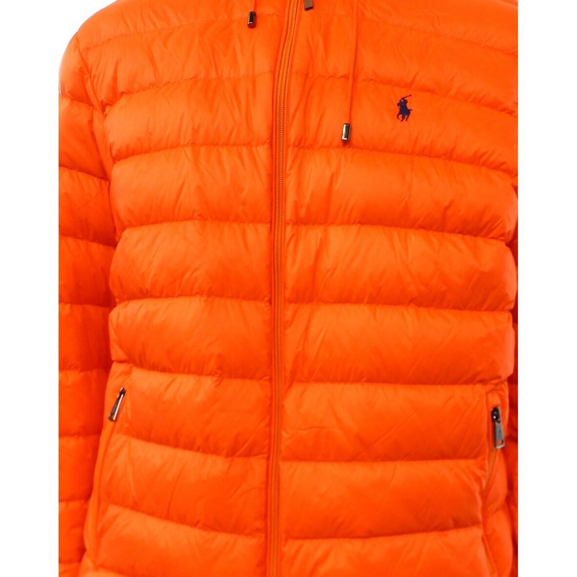 Size Puffer Jacket Polo Ralph Lauren Mens New Pocket Zip Down Xl Orange Yfvb7y6g