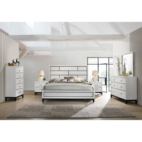 Stout Contemporary Panel Bedroom Set in White Finish with Panel Bed, Dresser, Mirror, 2 Night Stands, Chest