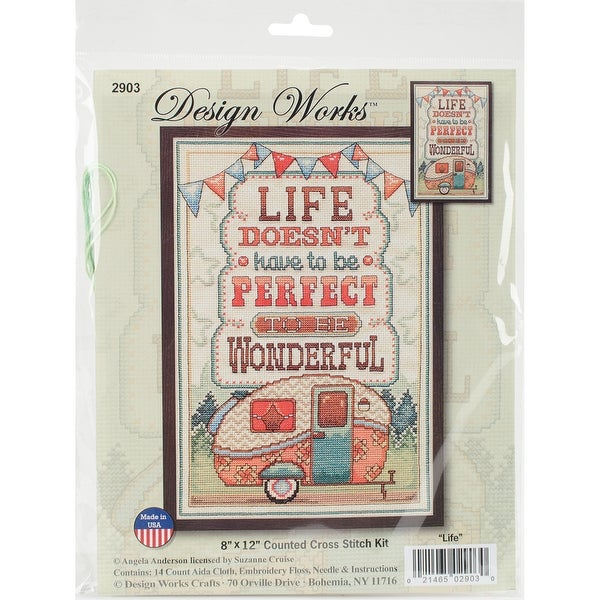"""Life Is Wonderful Counted Cross Stitch Kit-8""""X12"""" 14 Count"""