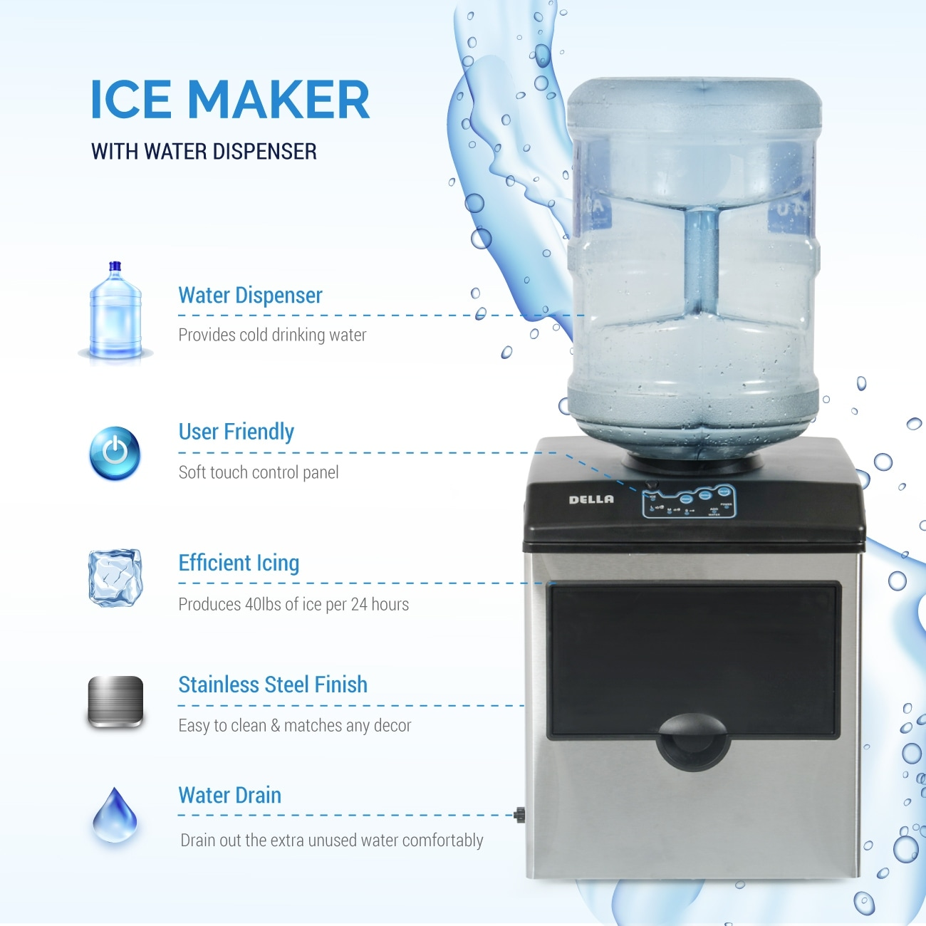 Stainless Steel Ice Cube Makers Products 40lbs Daily ADT 2 in 1 ...
