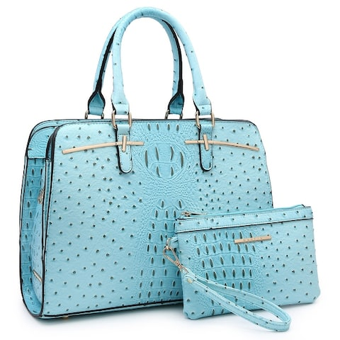 Dasein Ostrich Embossed Satchel Handbag with Accessory Pouch