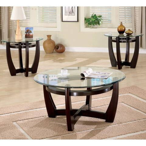 Copper Grove Quynon 3-piece Cappuccino Occassional Set with Glass Tops