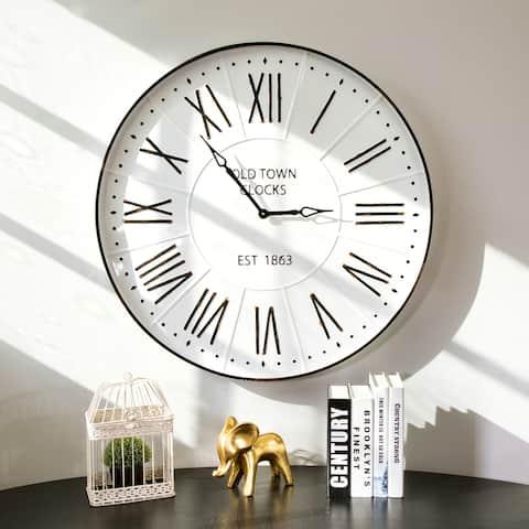 "Oversized Farmhouse 31.5""D Metal Enamel Wall Clock by Glitzhome"