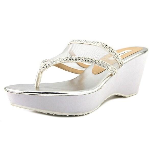 Nina Dalyne Women Open Toe Synthetic White Thong Sandal