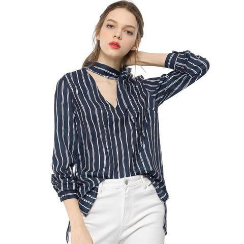 Unique Bargains Women's Tie V Neck Striped Pattern Long Sleeves Shirt Smart Casual Lady Blouse Tops - Dark Blue