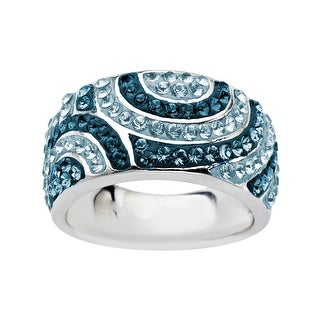 Crystaluxe Swirl Ring with Storm and Mist Swarovski Crystals in Sterling Silver - Blue