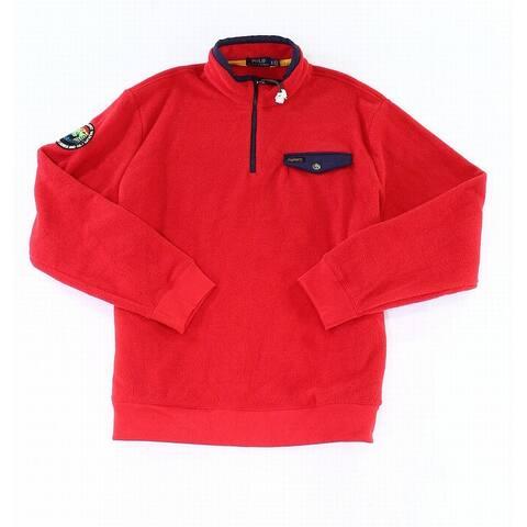 Polo Ralph Lauren Mens Sweater Red Size XL 1/4 Zip Fleece Pullover