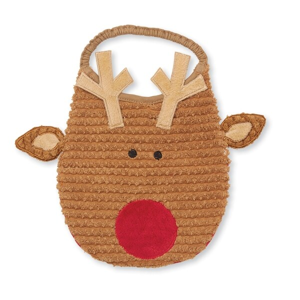 Reindeer with Antlers Shaped Chenille Baby Toddler Bib With Snap Open Mouth