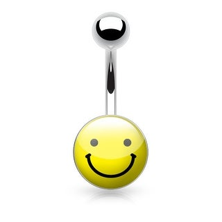 {Smile Face} Logo Inlaid and Clear Epoxy Covered Surgical Steel Navel Ring - 14GA (Sold Ind.)