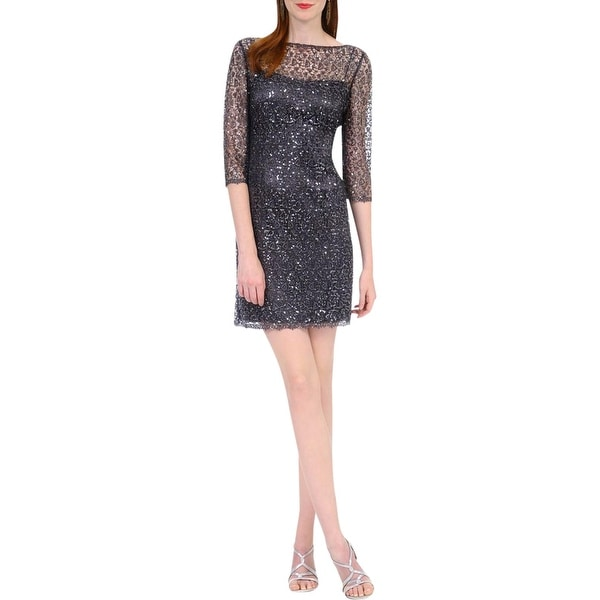 34cff2b5fb Shop Kay Unger Womens Cocktail Dress Lace Overlay Sequined - Free ...