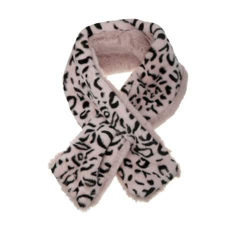 Leopard Winter Wraps Collar Cross Scarf Thick Plush Neck Scarves - 80*10cm/31.5*3.9 inches(L*W)