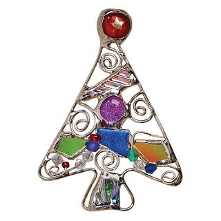 Art Glass Christmas Tree Pin - Hand Made Connie Bennett Designed Brooch