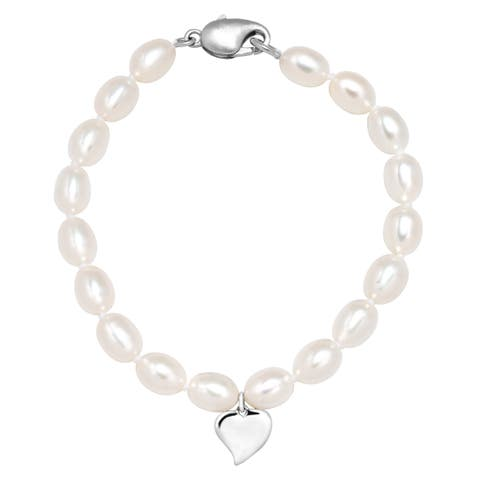 Girl's 5.5-6 mm Freshwater Pearl Heart Charm Bracelet in Sterling Silver