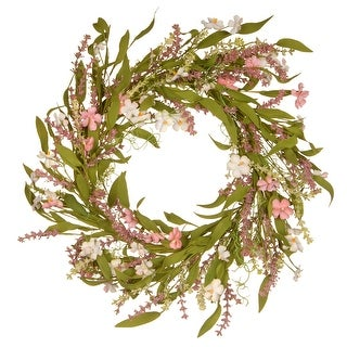 Spring Flowers Artificial Wreath - 22-Inch - N/A