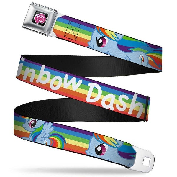 My Little Pony Logo Full Color Black Pink Rainbow Dash W Rainbow Streak Seatbelt Belt