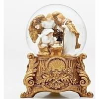 "Musical 9.25"" Gold Glitter Silent Night Nativity Dome"