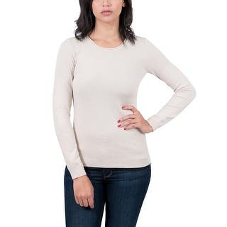 Real Cashmere Beige Crewneck Womens Sweater|https://ak1.ostkcdn.com/images/products/is/images/direct/ddef58cc7ed83de5ac54bbae505d194f33b0b644/Real-Cashmere-Beige-Crewneck-Womens-Sweater.jpg?impolicy=medium