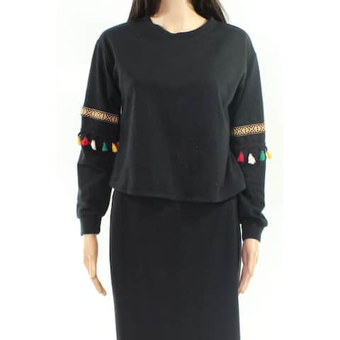Moa Moa Black Womens Size Small S Embroidered Crewneck Sweater